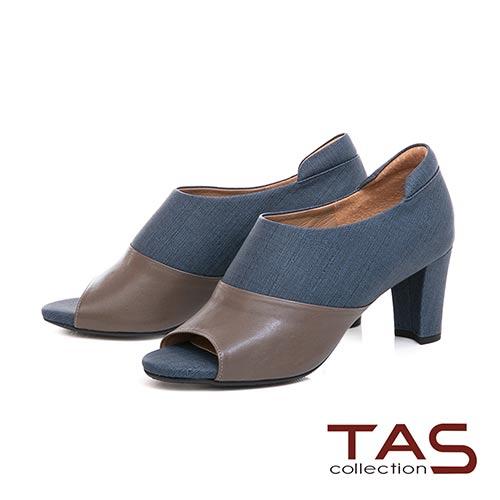 TAS 牛仔紋質感素面拼接魚口高跟踝靴–知性藍