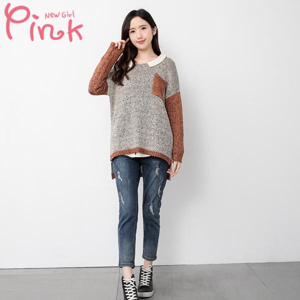 【Pink】撞色針織口袋罩衫(焦糖) G3404AT