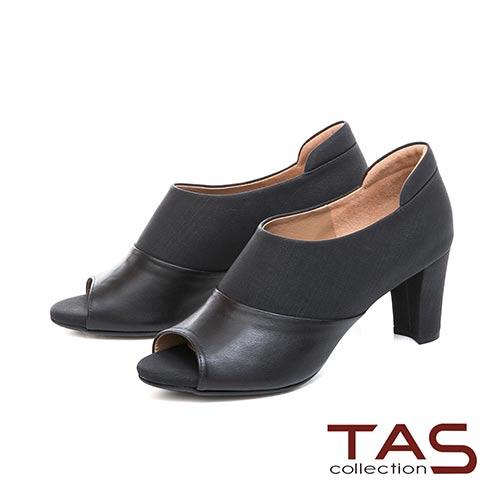 TAS 牛仔紋質感素面拼接魚口高跟踝靴–神秘黑
