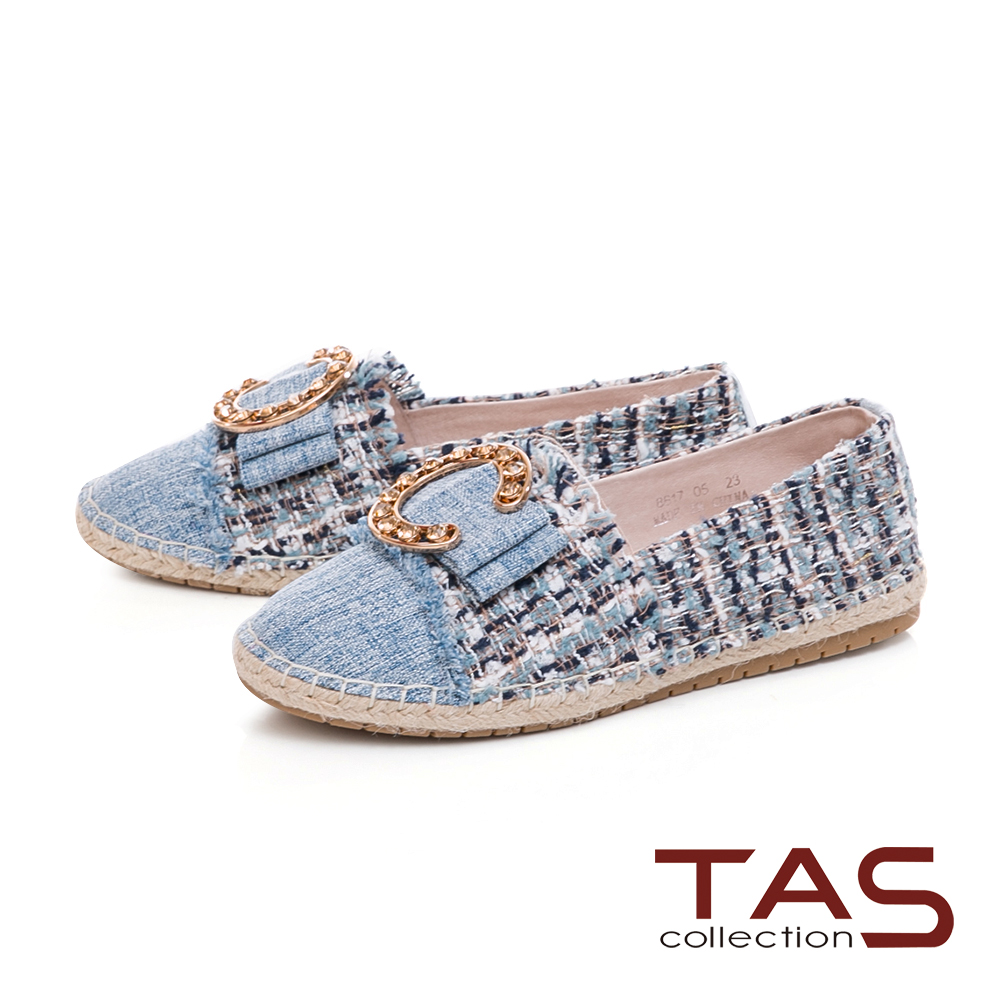 TAS大C金屬不修邊拼接草編休閒鞋-牛仔藍