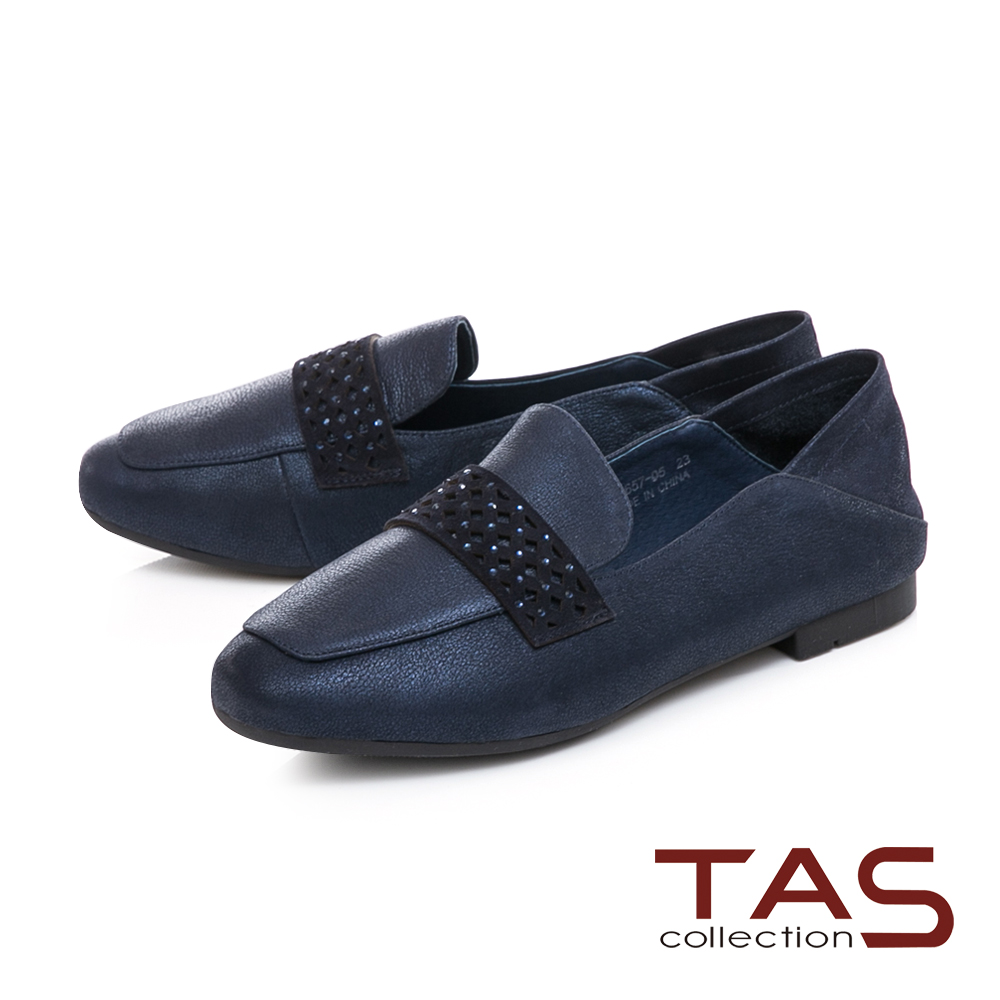 TAS質感素面拼接踩腳樂福鞋-知性藍