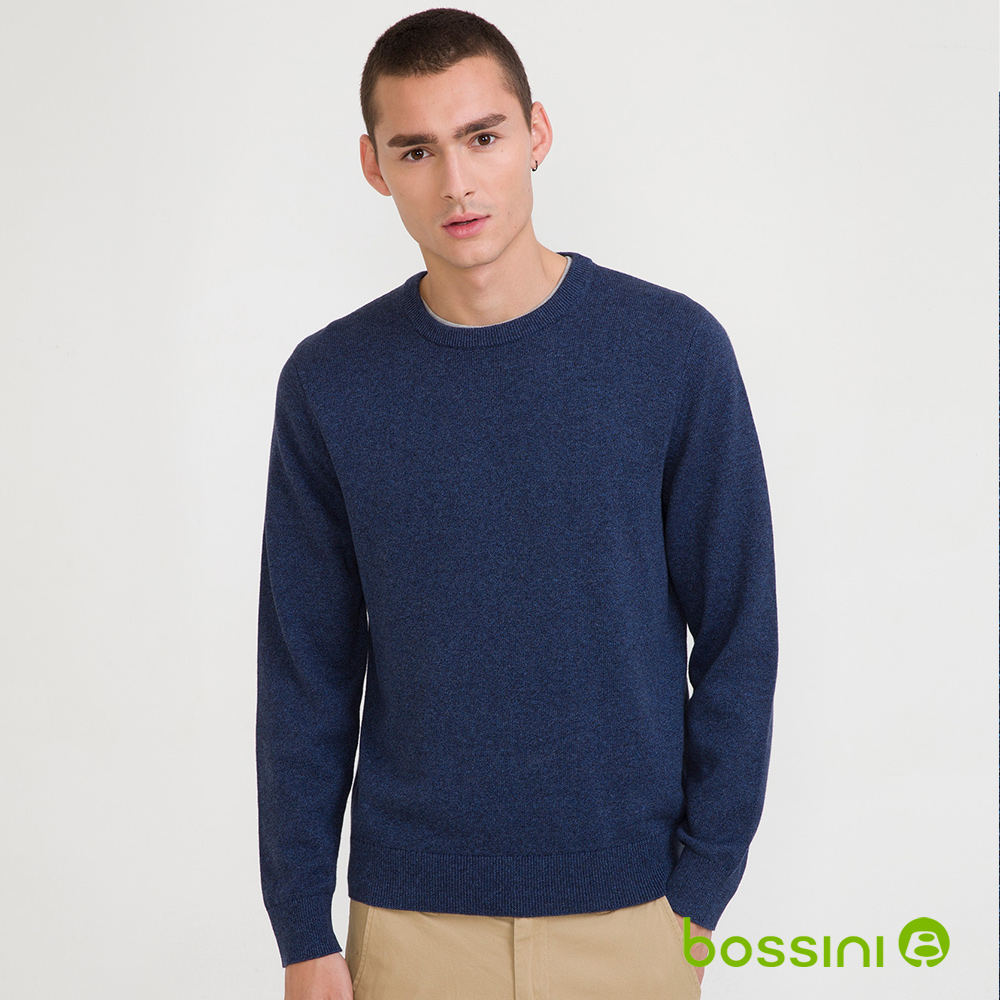 bossini男裝-圓領針織線衫01藍紫(品特)