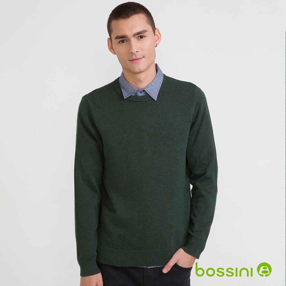 bossini男裝-圓領針織線衫01青綠(品特)