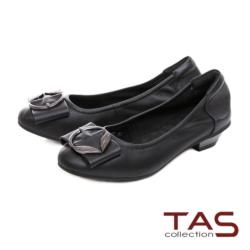 TAS金屬飾扣蝴蝶結素面羊皮娃娃鞋-經典黑