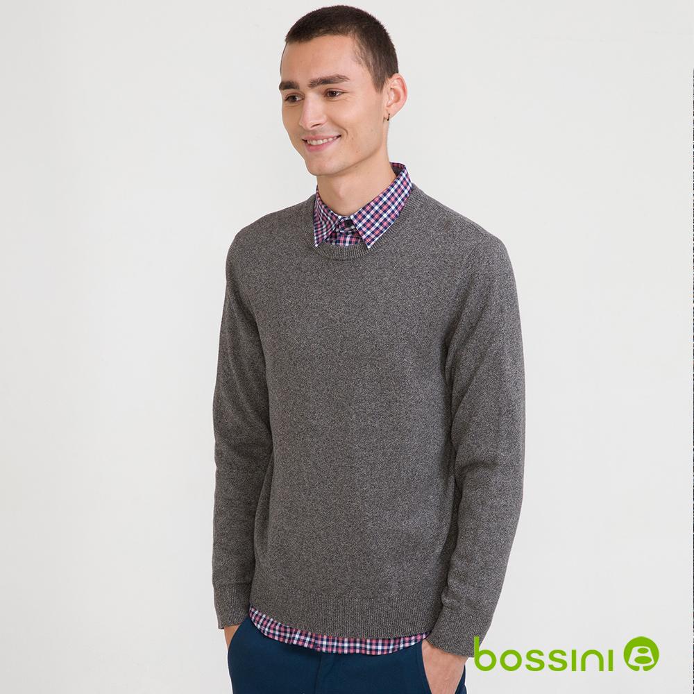 bossini男裝-圓領針織線衫01霧灰(品特)