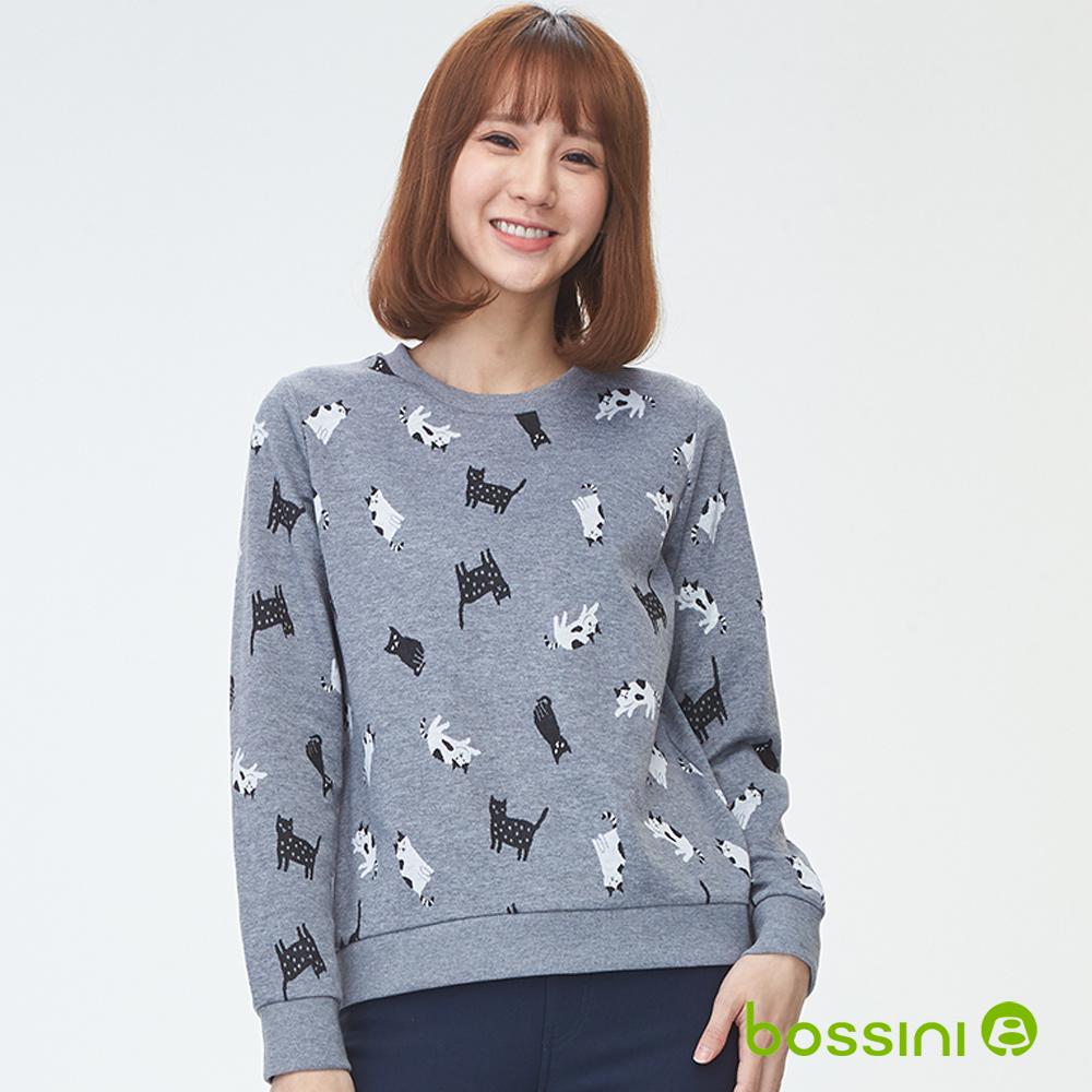 bossini女裝-圓領厚棉上衣02淺灰(品特)