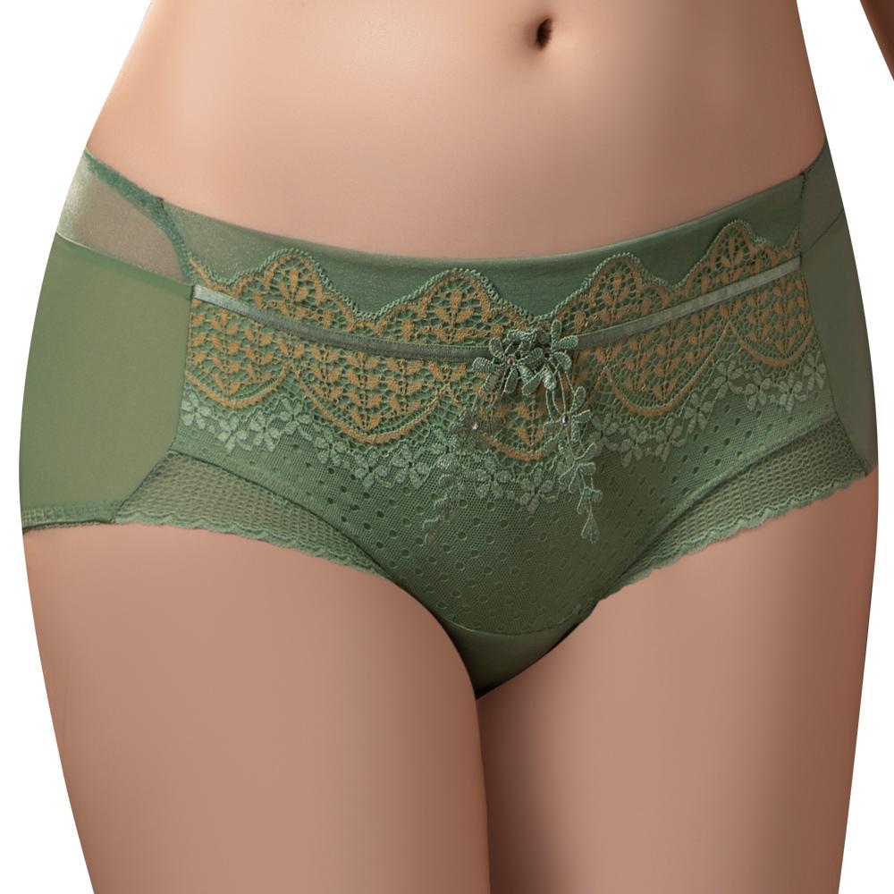 【思薇爾】波光曼舞系列M-XL蕾絲中低腰平口內褲(雨林綠)