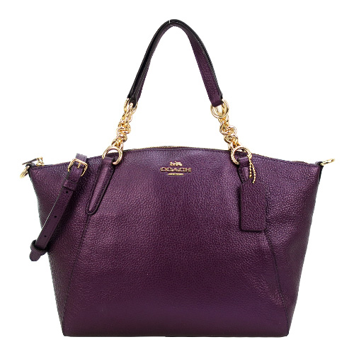 COACH 馬車荔枝紋珠光皮革鍊帶手提/斜背兩用包(小/覆盆紫)
