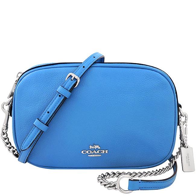 COACH 荔枝紋皮革鍊帶斜背包-水藍色