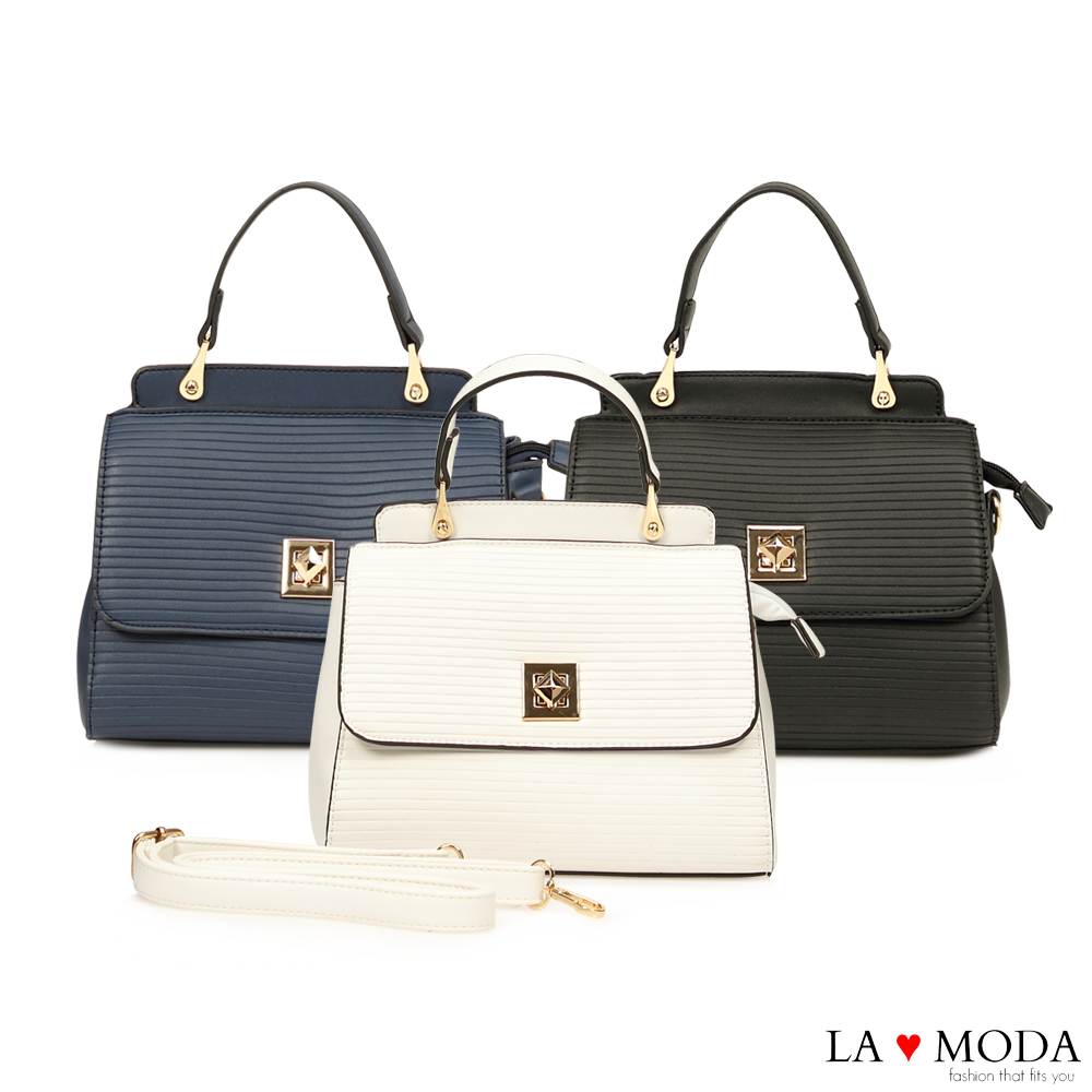 La Moda 精品質感波浪紋特殊旋鈕肩背手提波士頓包(共3色)