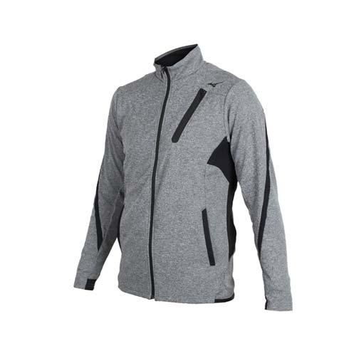 (男) MIZUNO 針織運動外套-美津濃 慢跑 路跑 立領外套 麻花深灰黑