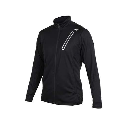 (男) MIZUNO 針織運動外套-美津濃 慢跑 路跑 立領外套 黑銀
