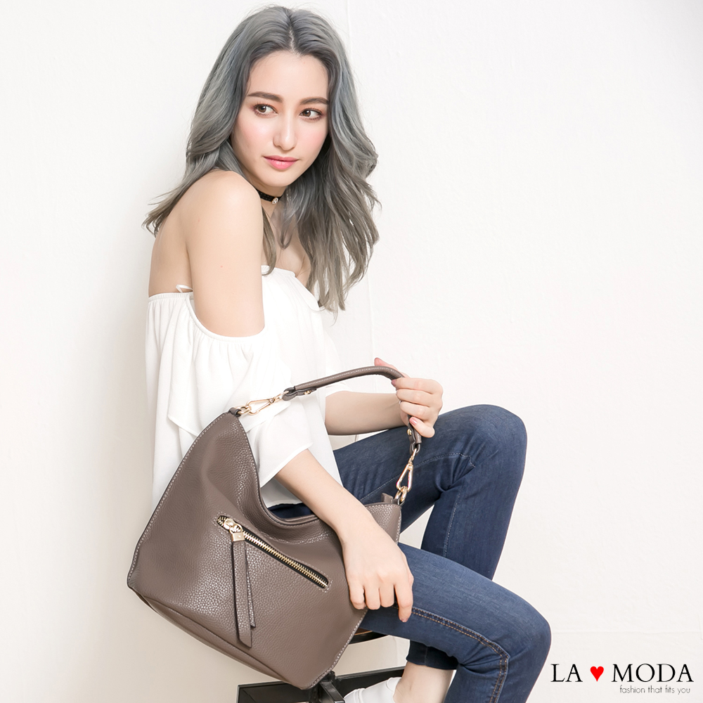 La Moda 熱銷雜誌高曝光款荔枝紋雙邊拉鍊手提肩背斜背包水桶包(棕色)
