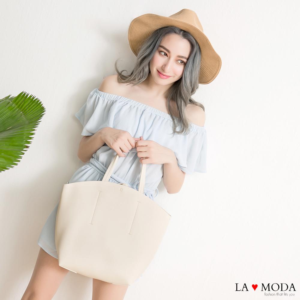 La Moda 柔軟皮質大容量肩背斜背托特包子母包(黑色)