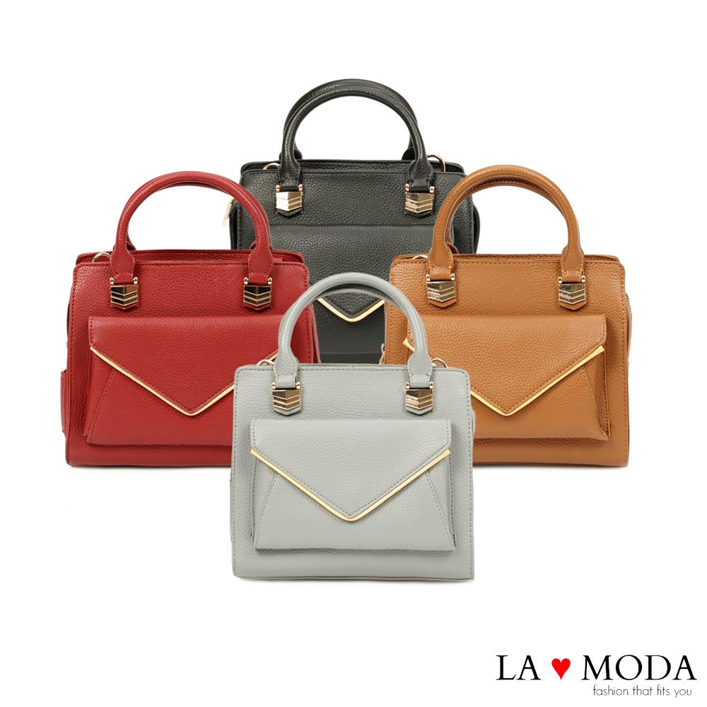 La Moda 模特兒街頭必備單品信封式前袋肩背手提兩用包(黑色)