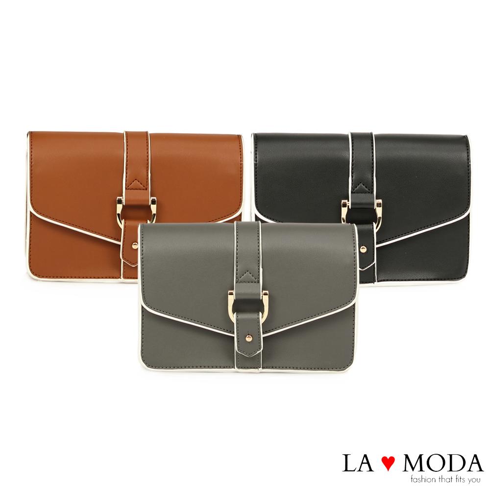 La Moda 設計感街頭Look 硬挺牛紋肩背郵差包(共2色)