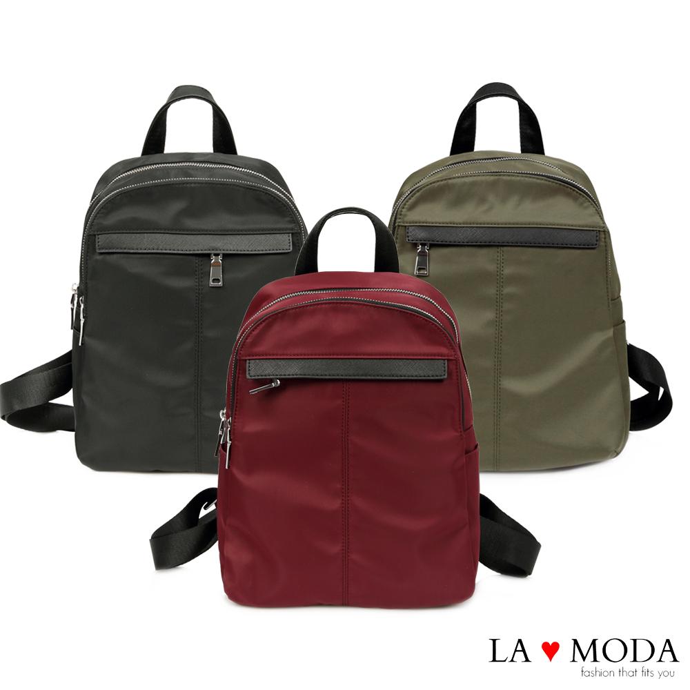 La Moda 模特街頭穿搭必備十字紋真皮牛皮配尼龍布防潑水後背包(綠色)