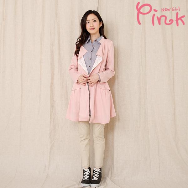 【Pink】內裏蕾絲甜美風外套(藍色) G2702AD