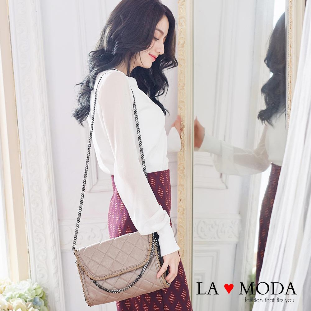 La Moda 歐美金屬邊鏈條系列 - 方形菱格隨身包(共2色)
