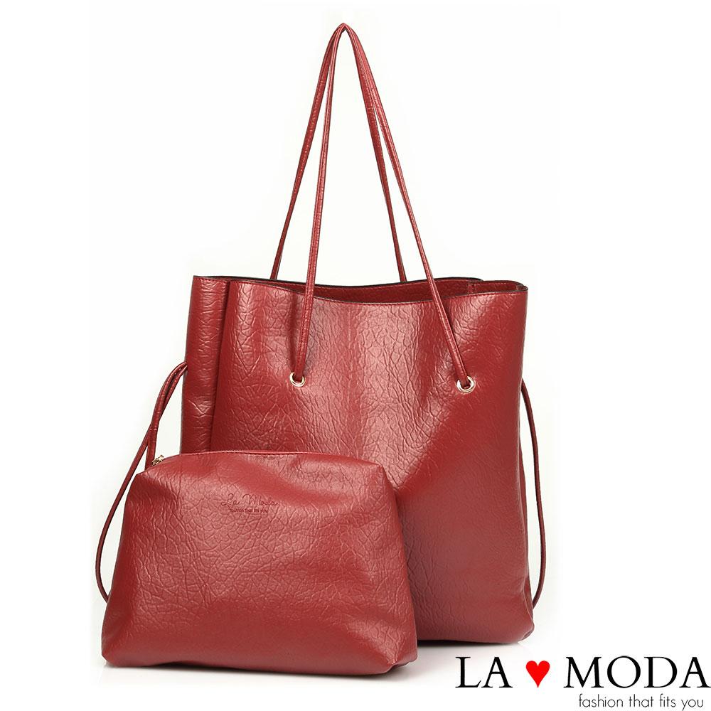 La Moda 品牌專屬系列 - 正韓版長型子母托特包(紅色)