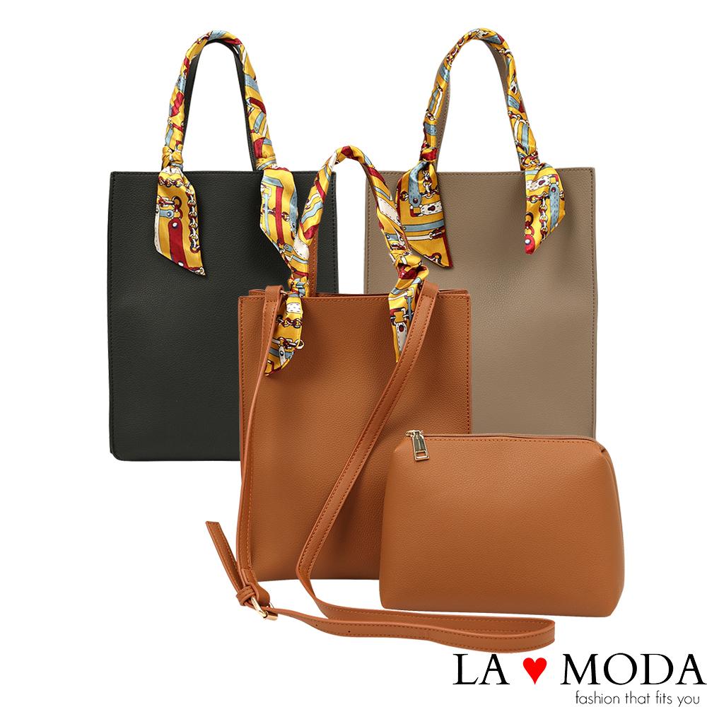 La Moda 獨特優雅Look~緞帶把手柔軟經典子母包托特包(共2色)