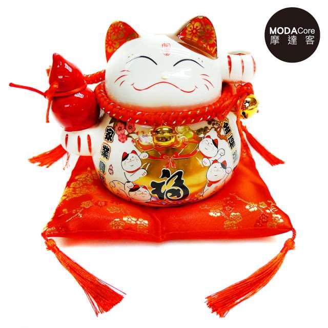 摩達客-農曆新年春節 中型招財貓撲滿(金福款) 存錢桶擺飾桌飾(含坐墊)