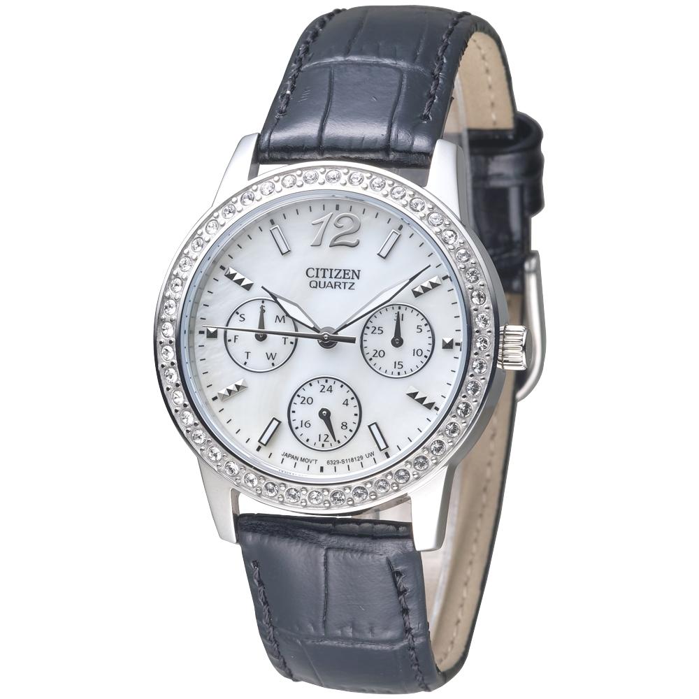 CITIZEN 永恆戀曲全日曆晶鑽女錶-珍珠貝錶盤(ED8090-11D)