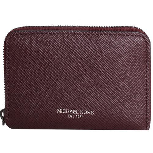 MICHAEL KORS- 烙印金字logo防刮皮革拉鍊零錢包(酒紅)