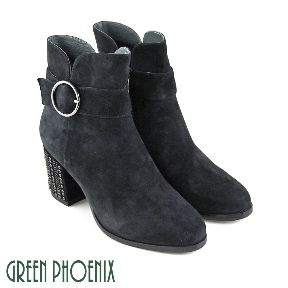 【GREEN PHOENIX】繞踝圓型金屬釦V型剪裁牛麂皮粗高跟短靴