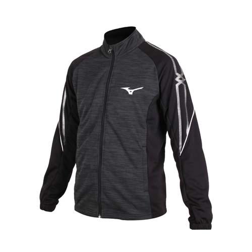 (男) MIZUNO 針織運動外套-立領外套 防曬 長袖上衣 美津濃 灰黑銀