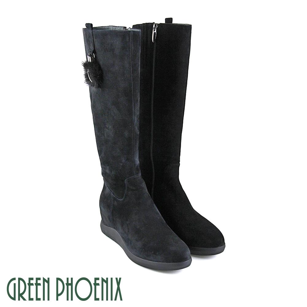 【GREEN PHOENIX】金屬絨毛鏤空圓形牛麂皮內增高長靴