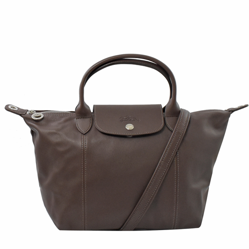 Longchamp Le Pliage Cuir小羊皮短把兩用包.深咖 #1512
