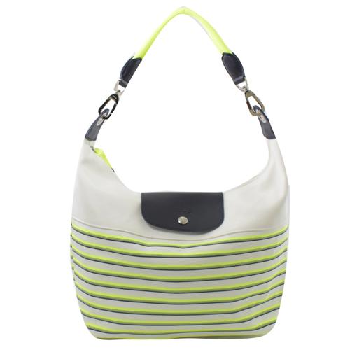 Longchamp MARINIERE 條紋棉麻繩背帶HOBO肩包.螢光綠 #1111