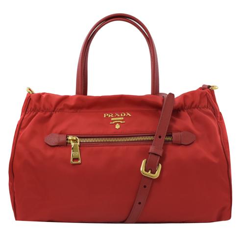PRADA  浮雕 LOGO尼龍帆布手提兩用包.紅