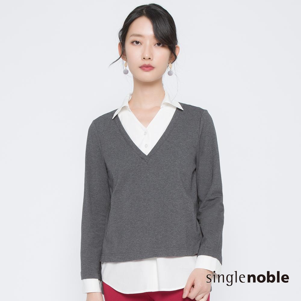 獨身貴族 知性風尚假兩件襯衫拼接上衣(1色)