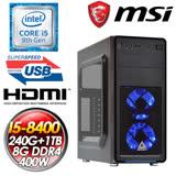 微星H310平台【移動城市】(I5-8400/240GB SSD+1TB/8G D4/400W大供電) I5六核效能影音SSD娛樂主機