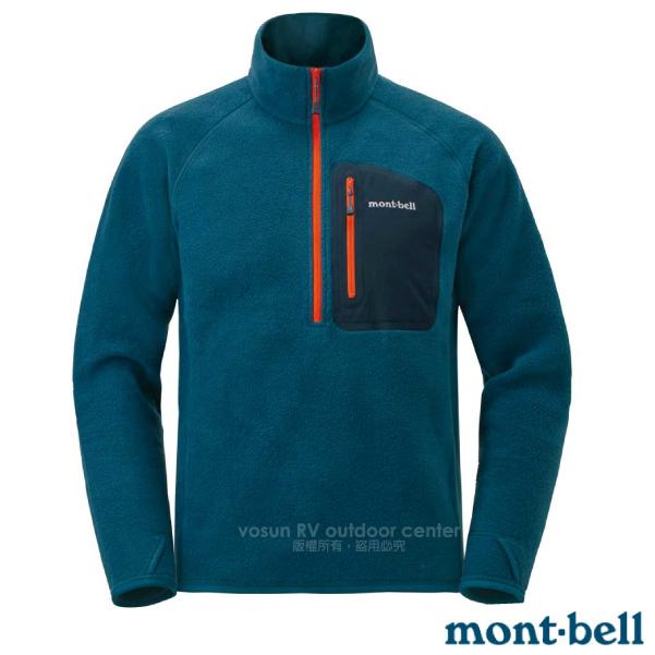 【MONT-BELL 日本】男新款 CP100 PULLOVER 舒適輕量保暖刷毛上衣.排汗休閒衫.中層衣/CLIMAPLUS 100薄刷毛.彈性透氣/1106593BLBK 藍黑