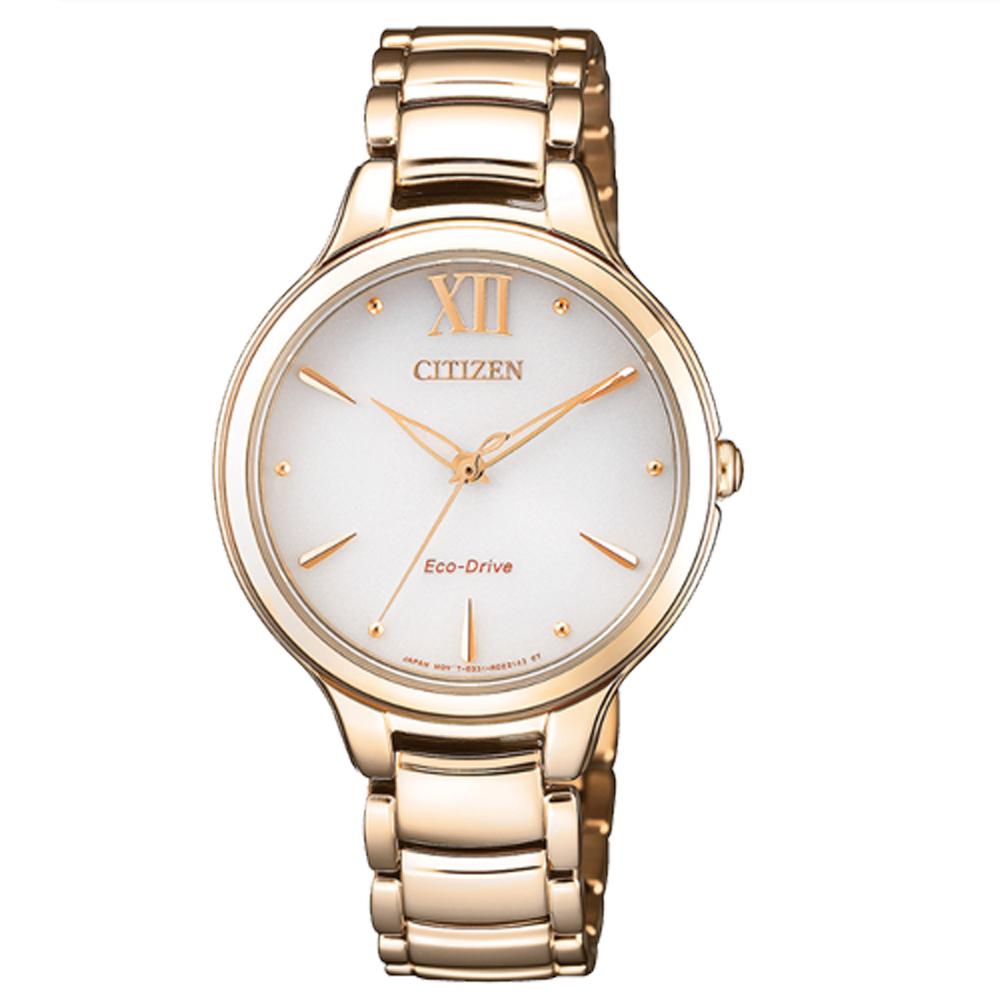 CITIZEN 星辰 光動能指針女錶 不鏽鋼錶帶 日常生活防水 藍寶石玻璃鏡面 EM0553-85A