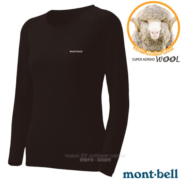 【MONT-BELL 日本】女新款 SUPER MERINO WOOL M.W R.N 美麗諾羊毛中厚保暖內衣.排汗衣.內層衣/排汗舒適_1107574BK 黑