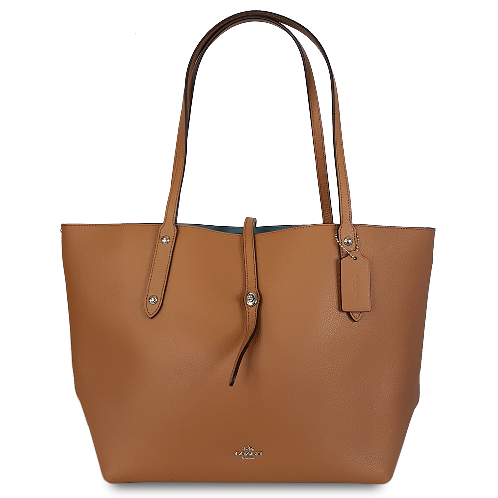 COACH 專櫃款素面真皮柔軟托特包-棕色