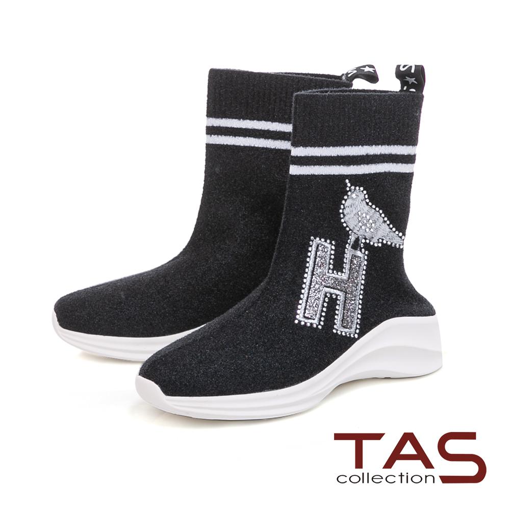 TAS造型刺繡水鑽高筒運動休閒鞋-時尚黑