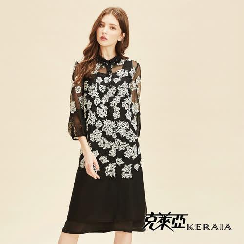 【KERAIA 克萊亞】透膚刺繡花卉雪紡襯衫洋裝(附長版背心)