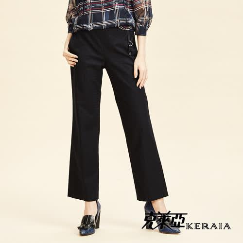 【KERAIA 克萊亞】格紋緹花彈性棉料直筒褲