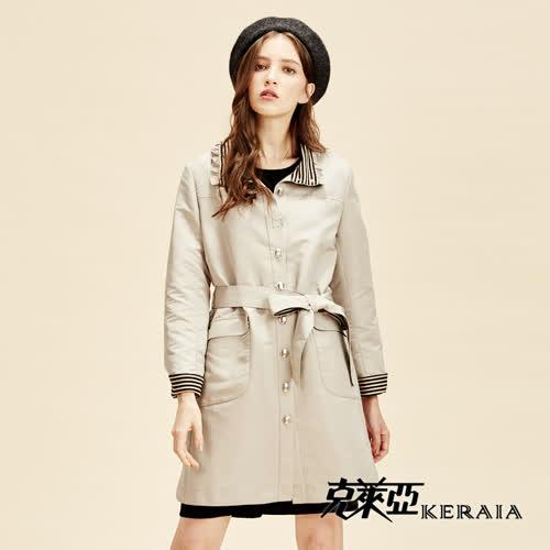 【KERAIA 克萊亞】拼接條紋風衣長版外套(附綁帶)