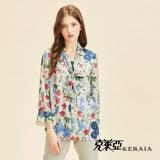 【KERAIA 克萊亞】花藤藝術綁帶雪紡上衣