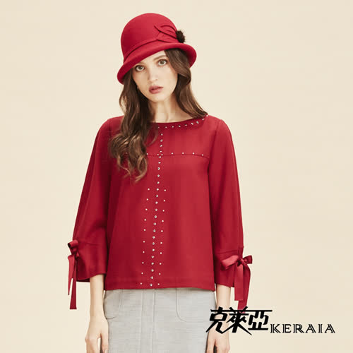 【KERAIA 克萊亞】日本純羊毛毛呢上衣-暗紅