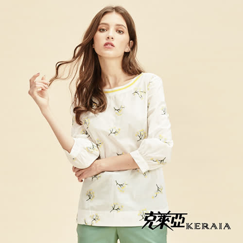【KERAIA 克萊亞】100%棉質繡花撞色領短上衣
