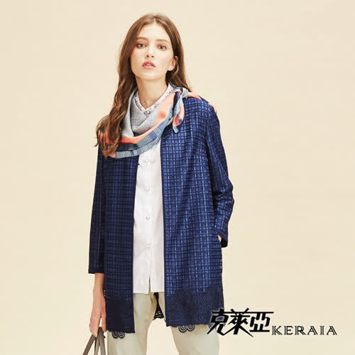 【KERAIA克萊亞】簡約格紋下擺蕾絲長版外套
