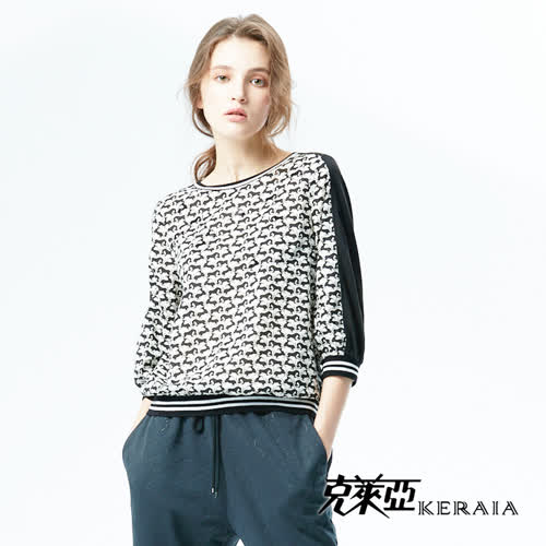 【KERAIA 克萊亞】動物圖騰棉質拼接上衣