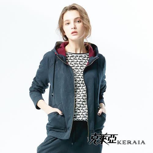 【KERAIA 克萊亞】內刷毛連帽休閒短外套